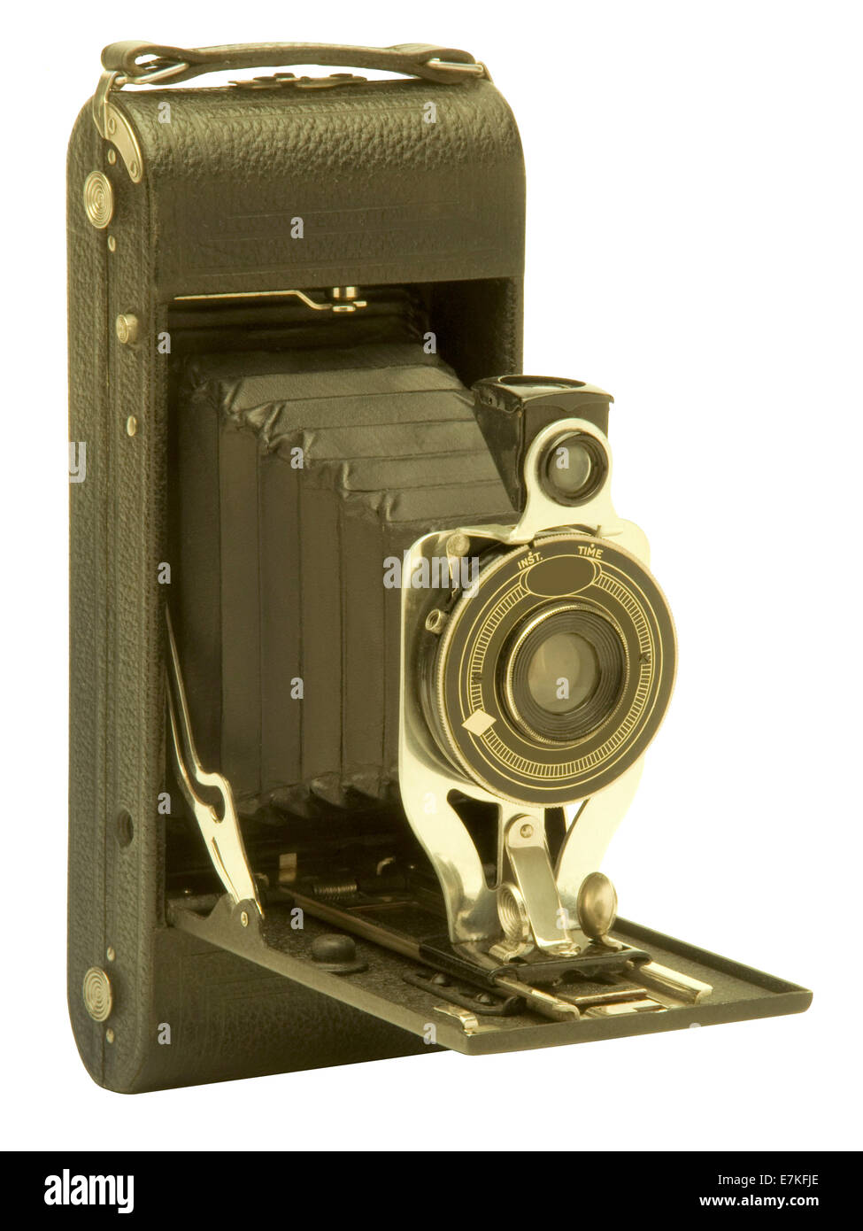 Vintage Agfa Ansco folding bellows film camera against white background. Logos have been removed to avoid trademark - Stock Image