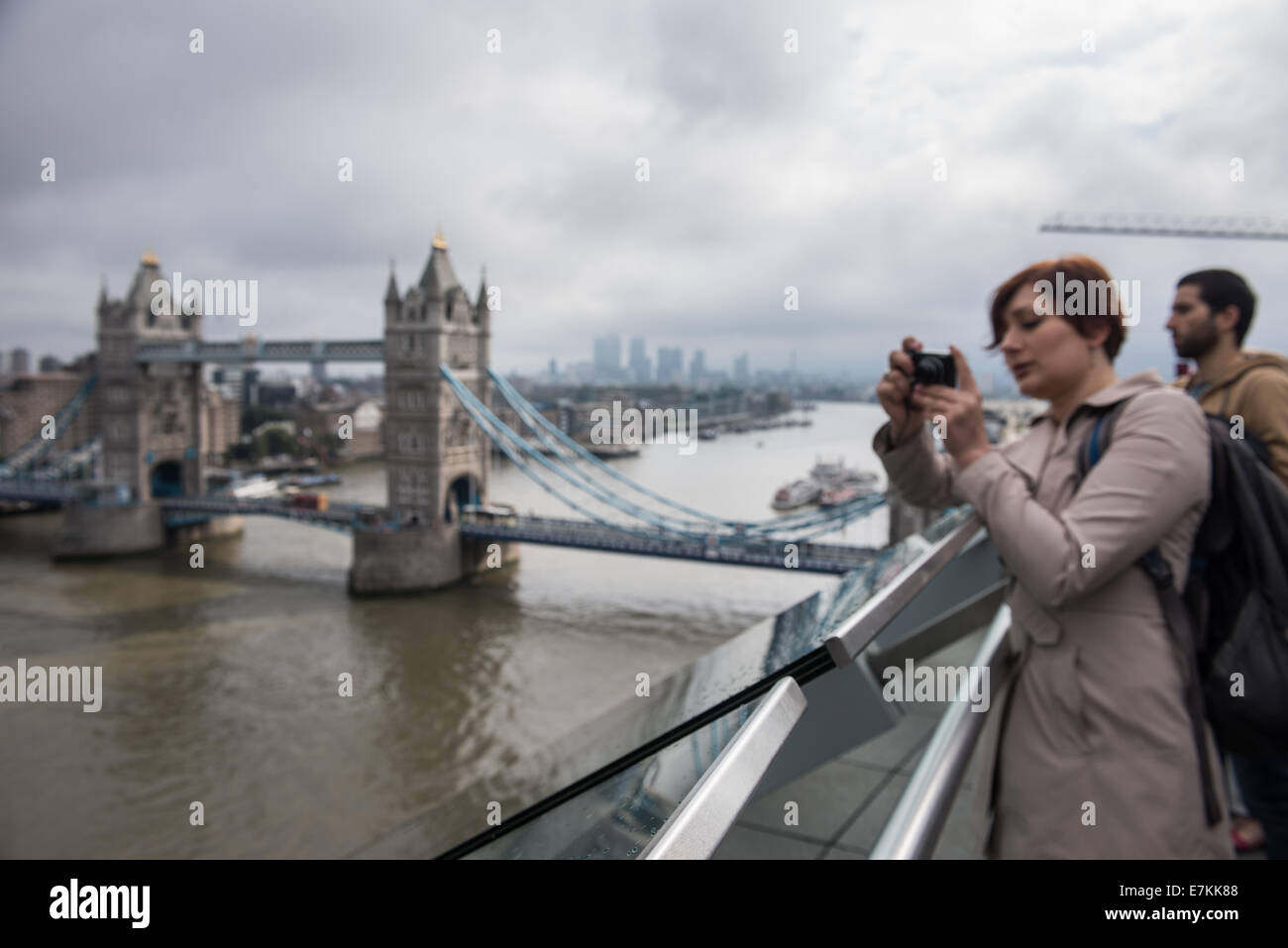 London, UK. 20th September, 2014. visitors take pictures from the rooftop of City Hall during the first day of Open - Stock Image