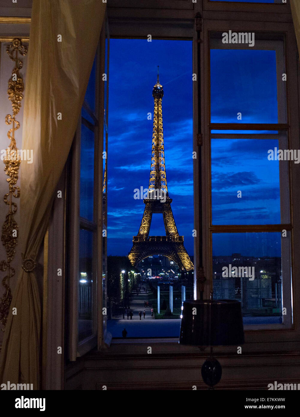 View of the Eiffel Tower at twilight September 18, 2014  in in Paris, France. - Stock Image