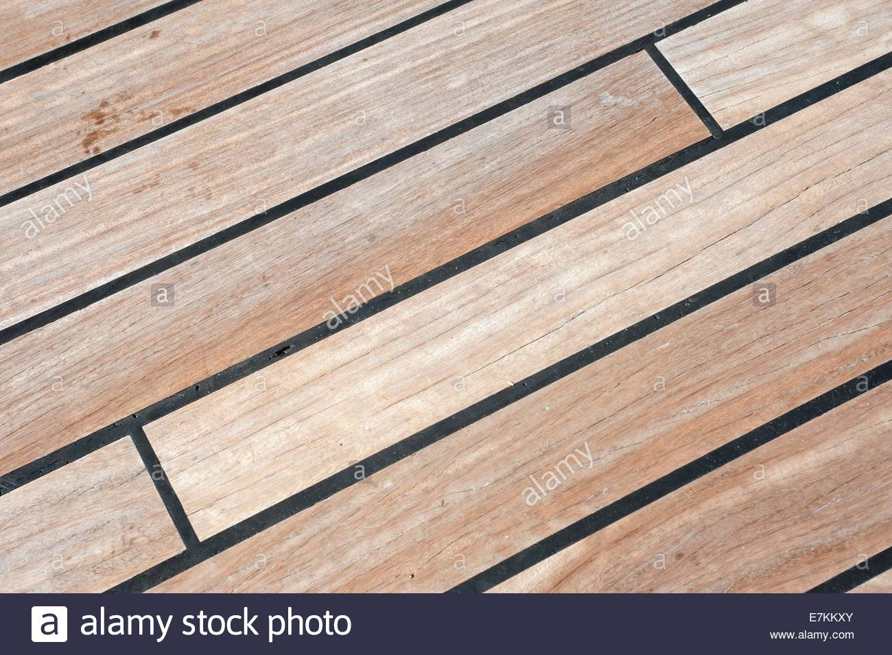 Wooden decking on a ship. - Stock Image