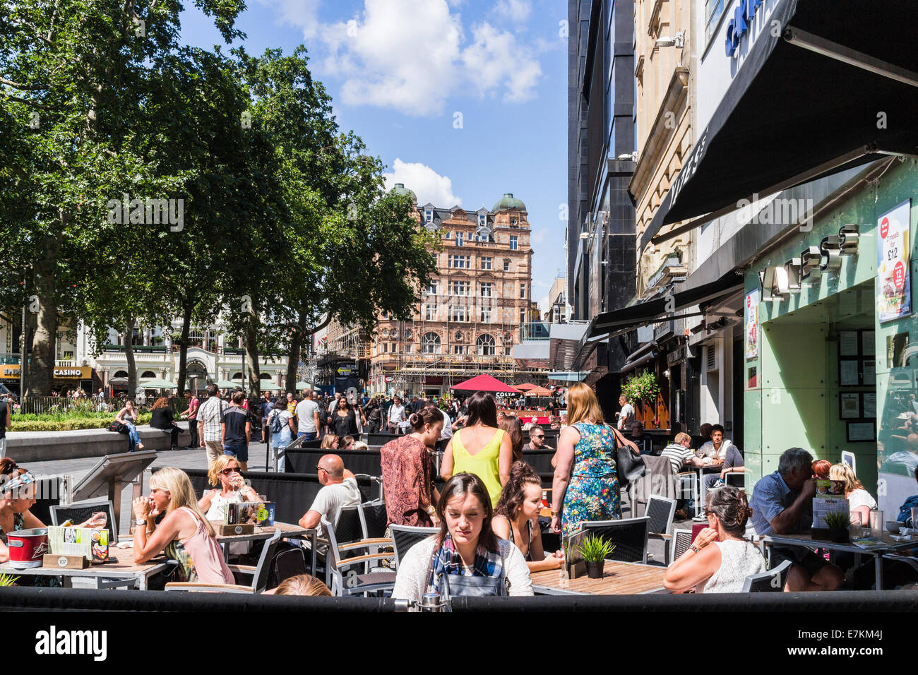 Outside dinning on Leicester square - London - Stock Image
