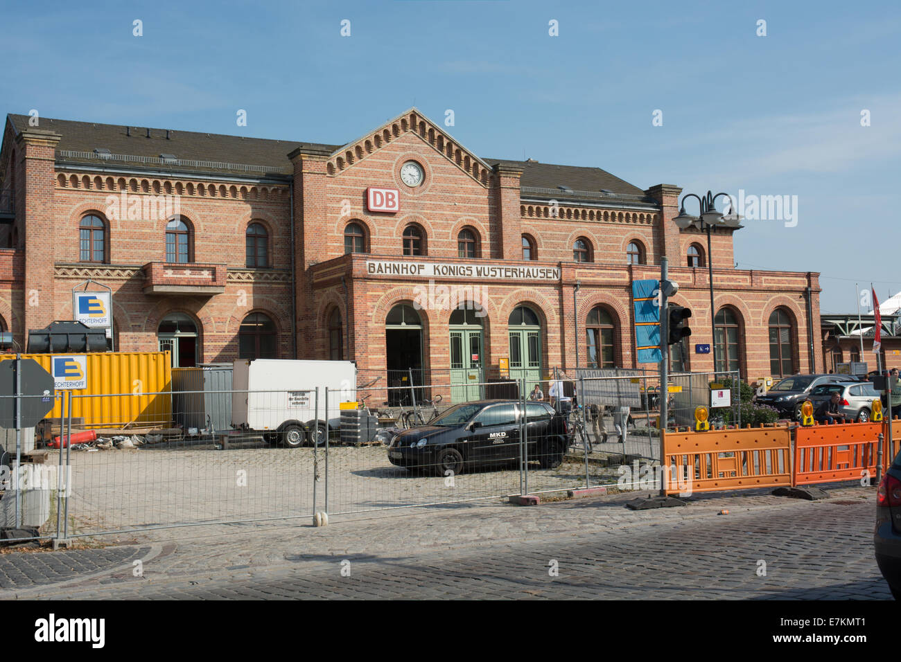 Construction work blocks access to Königs Wusterhausen Bahnhof a station in the Brandenburg state of Germany. - Stock Image