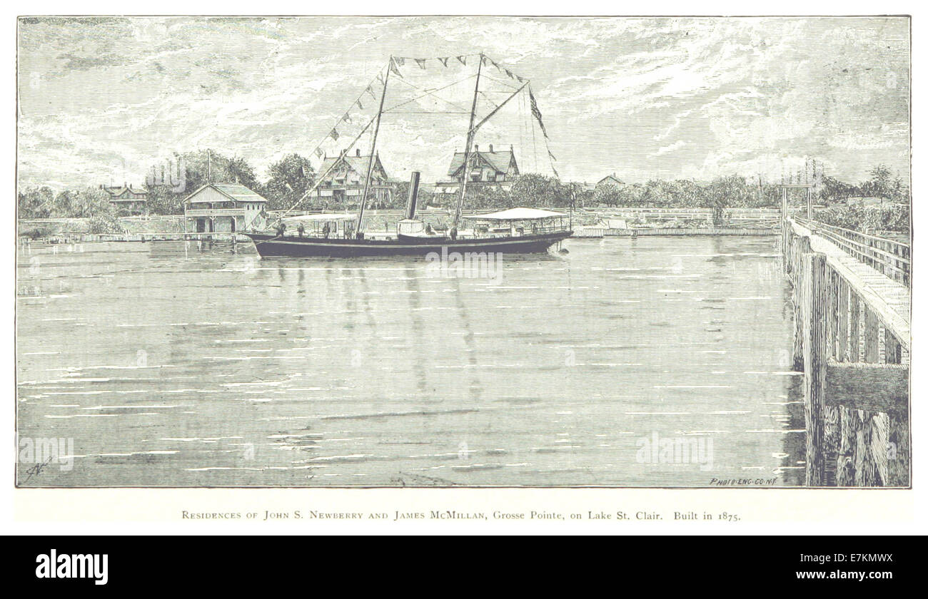 FARMER(1884) Detroit, p506 RESIDENCES OF J.S. NEWBERRY AND J. McMILLAN, GROSSE POINTE, ON LAKE ST. CLAIR. BUILT - Stock Image