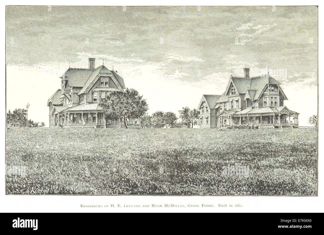 FARMER(1884) Detroit, p507 RESIDENCES OF H.B. LEDYARD AND HUGH McMILLAN, GROSSE POINTE, ON LAKE ST. CLAIR. BUILT - Stock Image