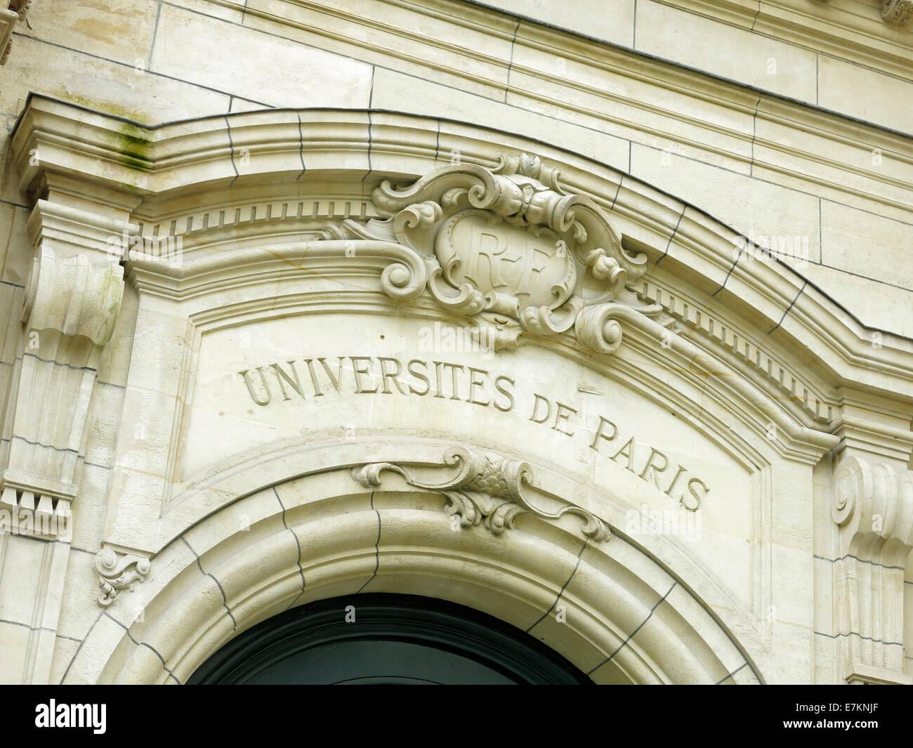 Sorbonne University of Paris doorway stone arch. - Stock Image