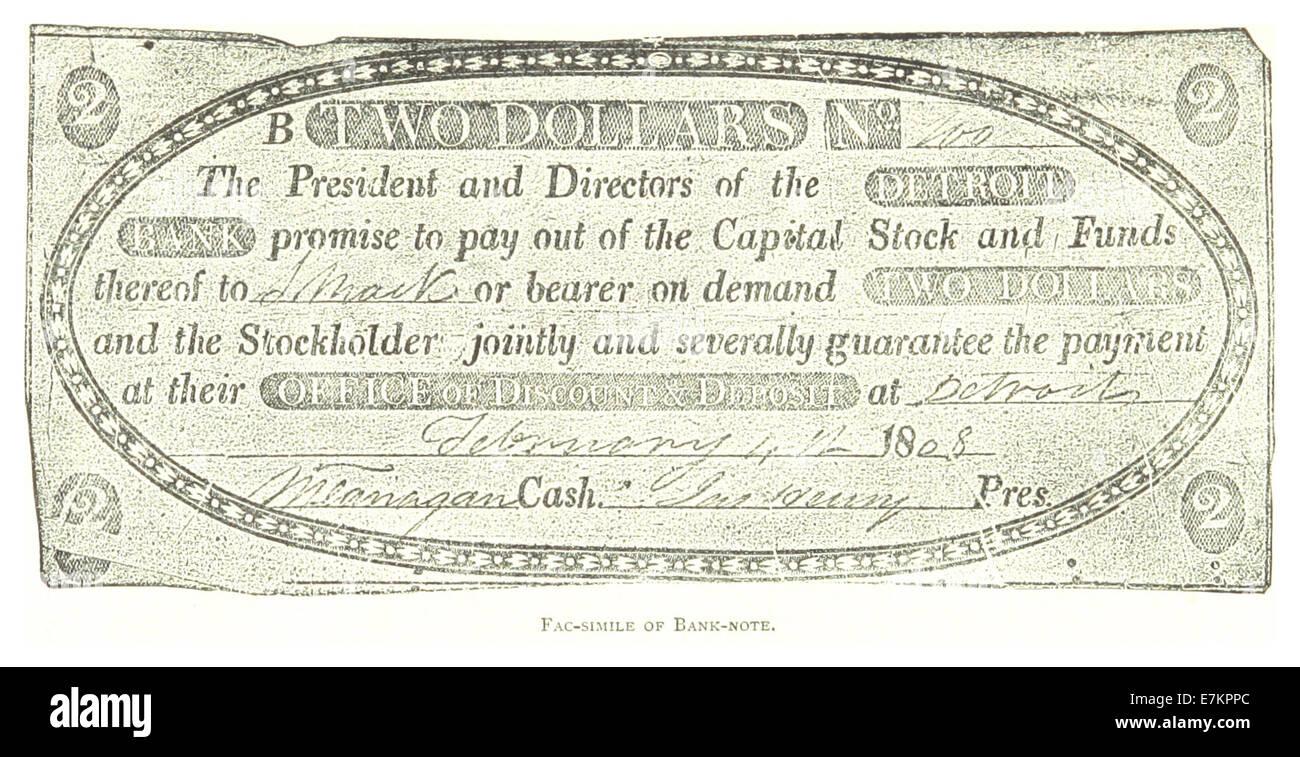 FARMER(1884) Detroit, p909 FAC-SIMILE OF BANK-NOTE - Stock Image