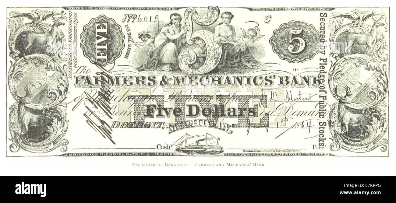 FARMER(1884) Detroit, p913 FAC-SIMILE OF BANK-NOTE - Stock Image