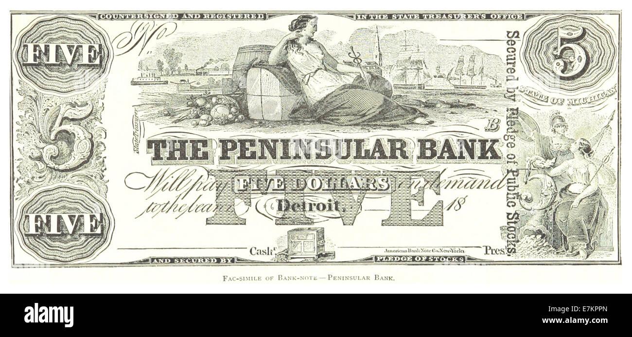 FARMER(1884) Detroit, p917 FAC-SIMILE OF BANK-NOTE - Stock Image