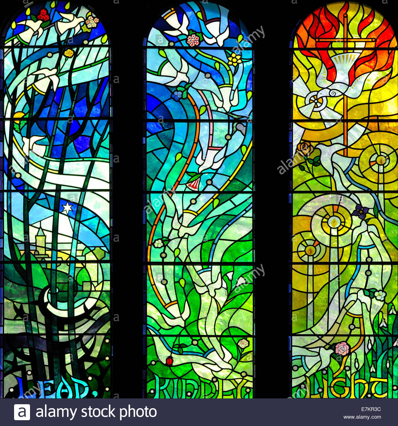 The Memorial Window, Church of the Holy Family, Dunblane, Stirling, Scotland, UK - Stock Image