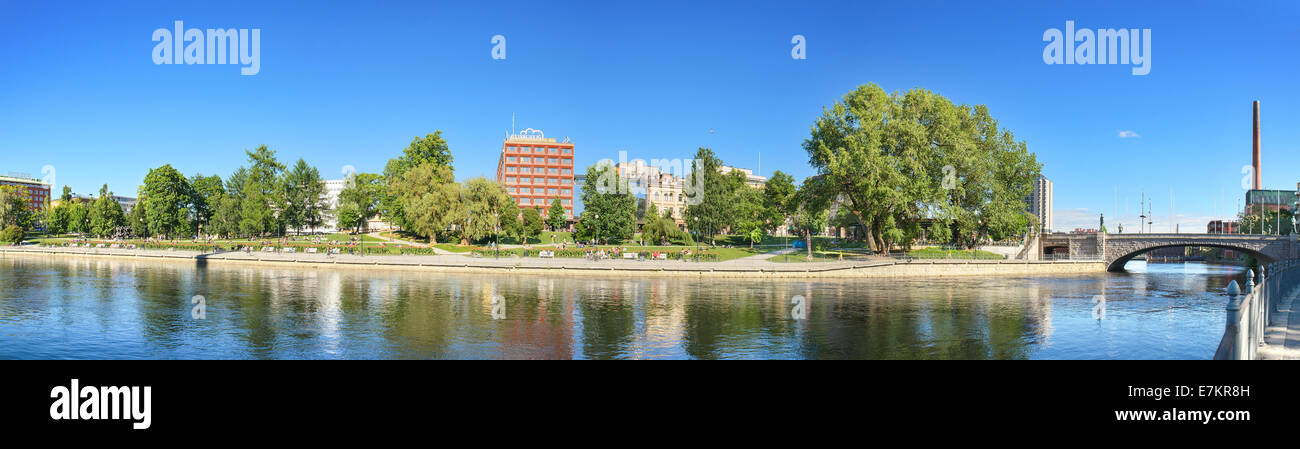 Panorama of River Tamerfors, Tampere Finland. - Stock Image