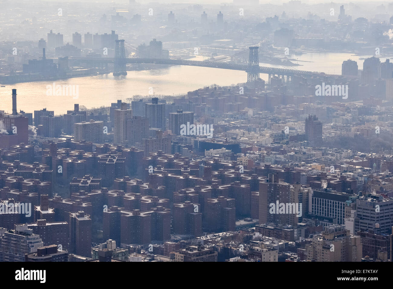 US, New York City. View from the Empire State Building observation deck. Williamsburg Bridge. - Stock Image