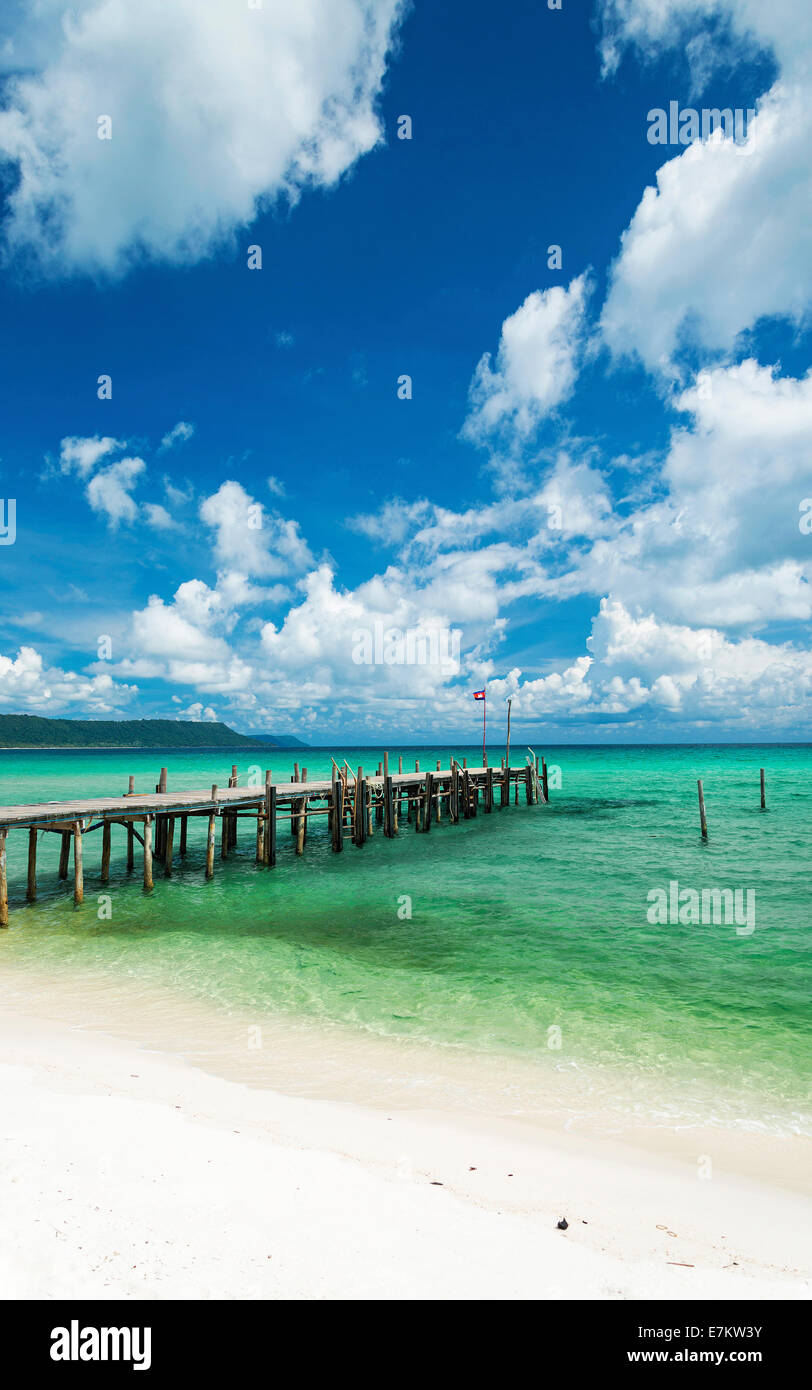 sok san pier on long beach in koh rong island near sihanoukville cambodia - Stock Image