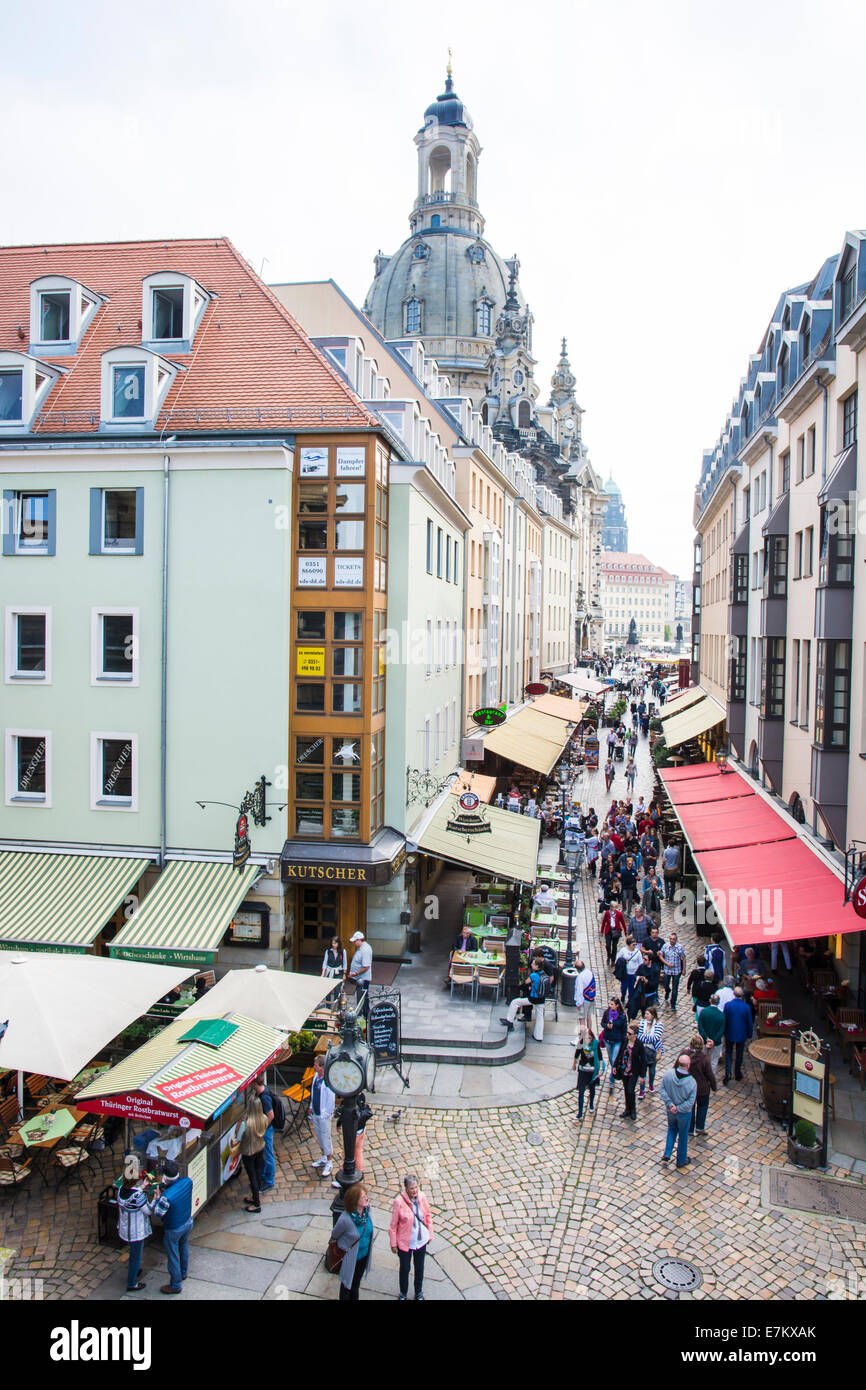 DRESDEN, GERMANY - SEPTEMBER 4: Tourists in a shopping street in Dresden, Germany on September 4, 2014. Dresden - Stock Image