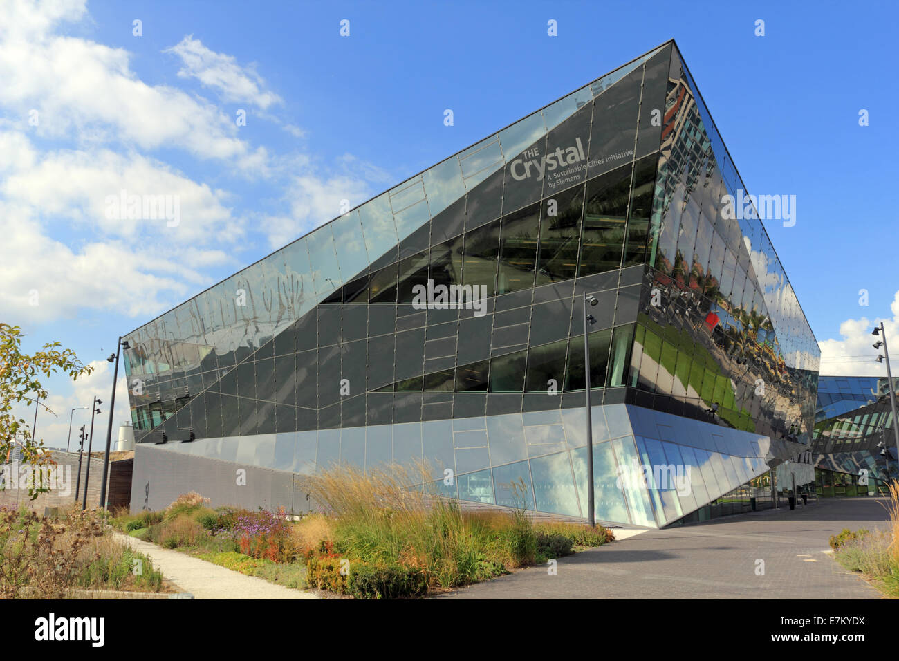 The Crystal sustainable development exhibition building on Royal Victoria Dock in east London, England, UK. - Stock Image