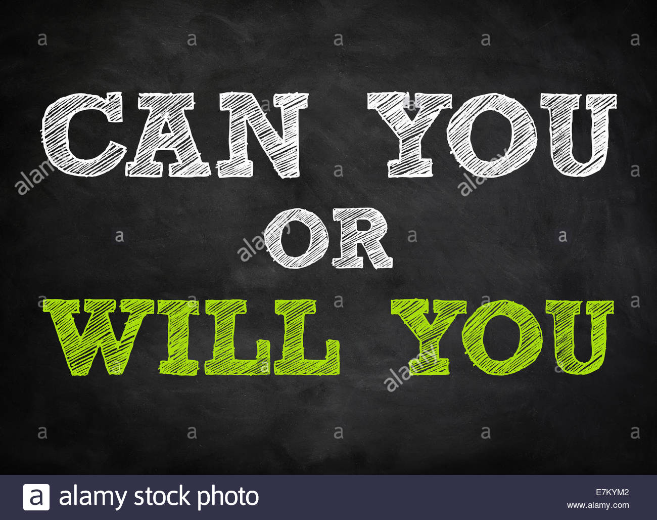 CAN YOU or WILL YOU - chalkboard concept - Stock Image
