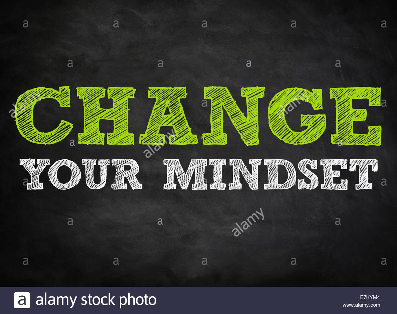 CHANGE YOUR MINDSET - chalkboard concept - Stock Image