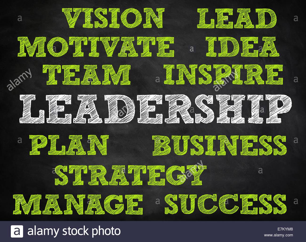 LEADERSHIP - chalkboard concept - Stock Image