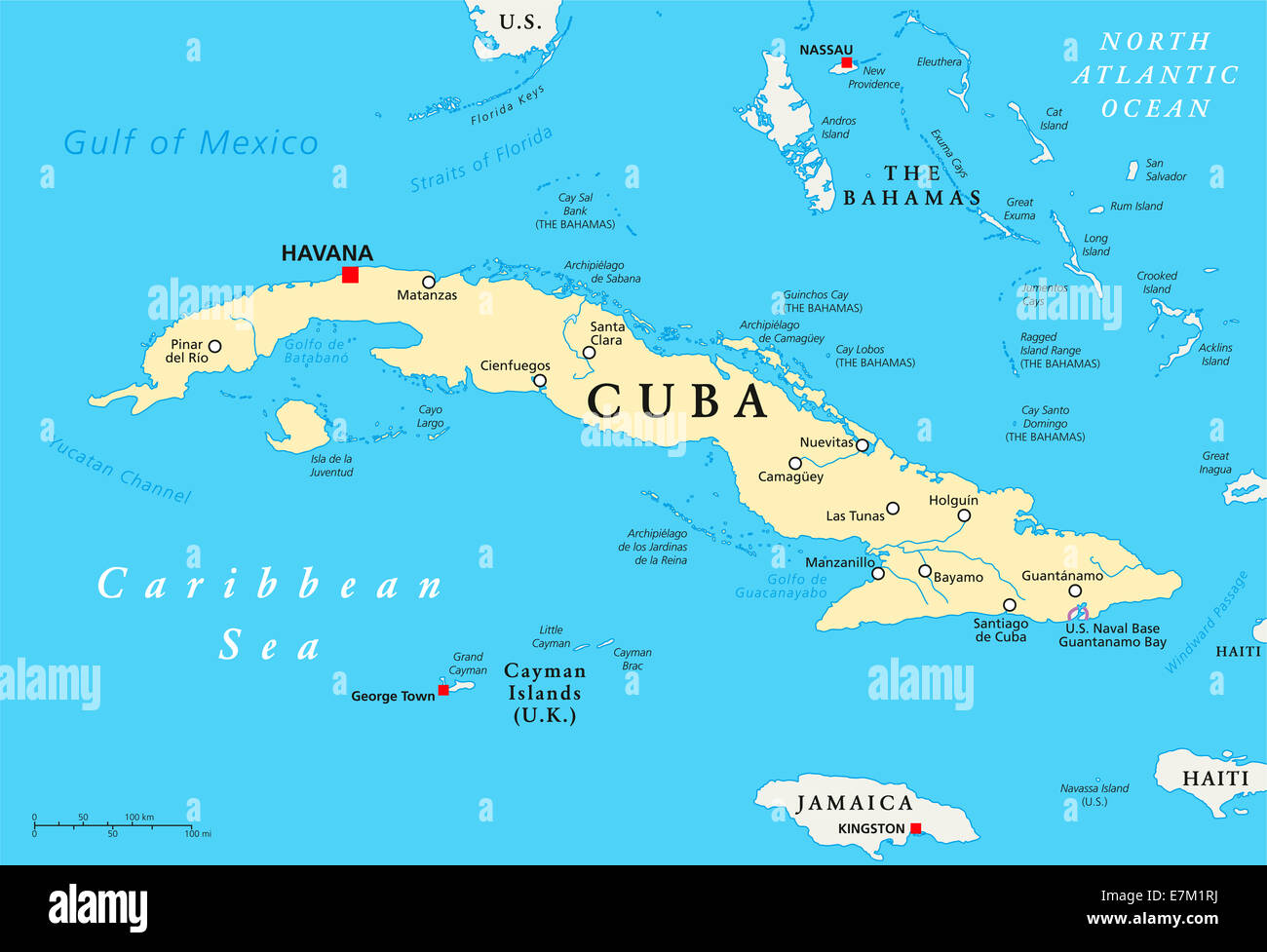 Cuba Political Map with capital Havana, national borders, most Stock ...
