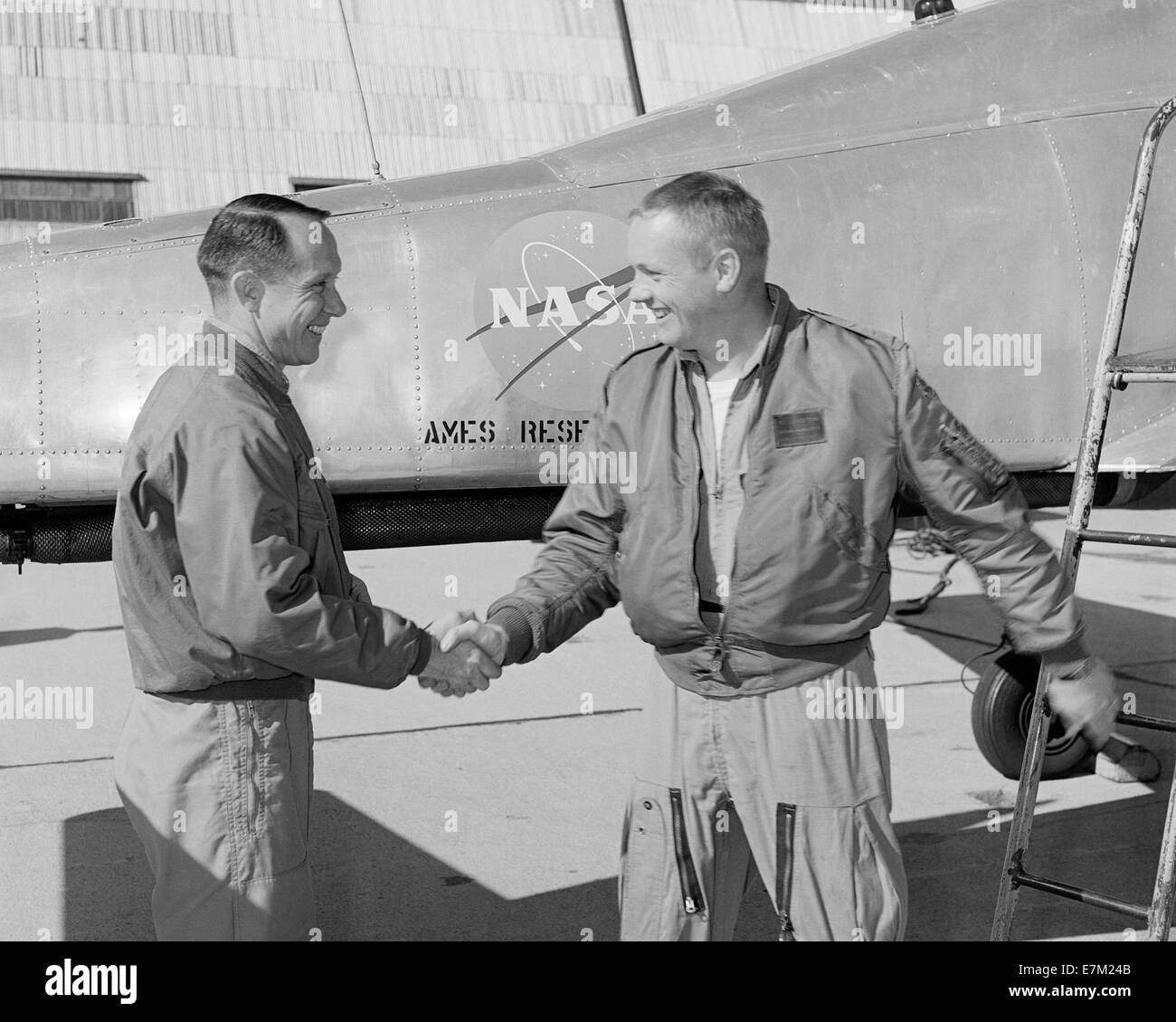 Fred Drinkwater congratulating Neil Armstrong Stock Photo