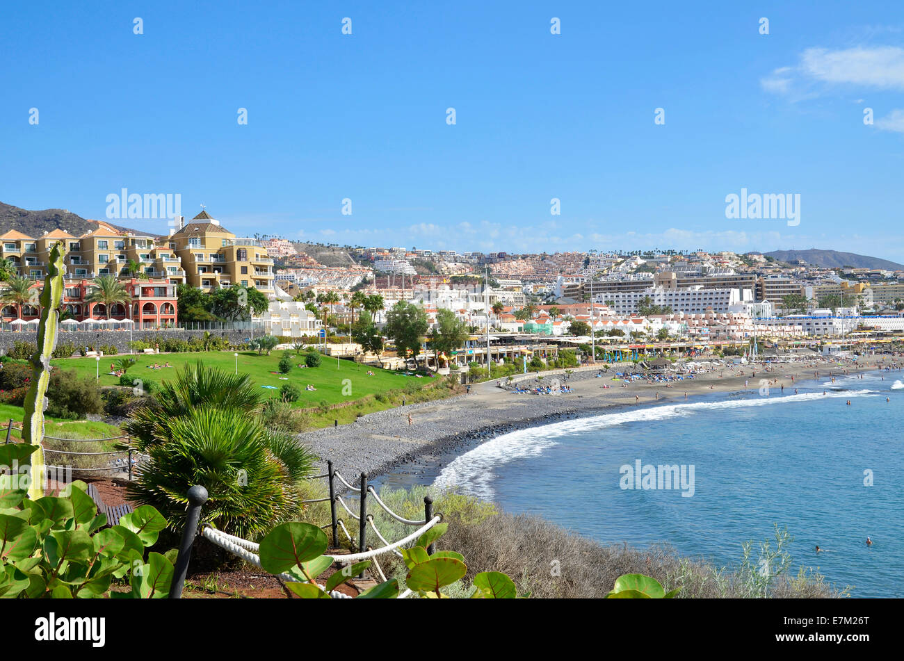 Looking towards Torviscas from Fanabe on the Costa Adeje in Tenerife, Canary Islands - Stock Image