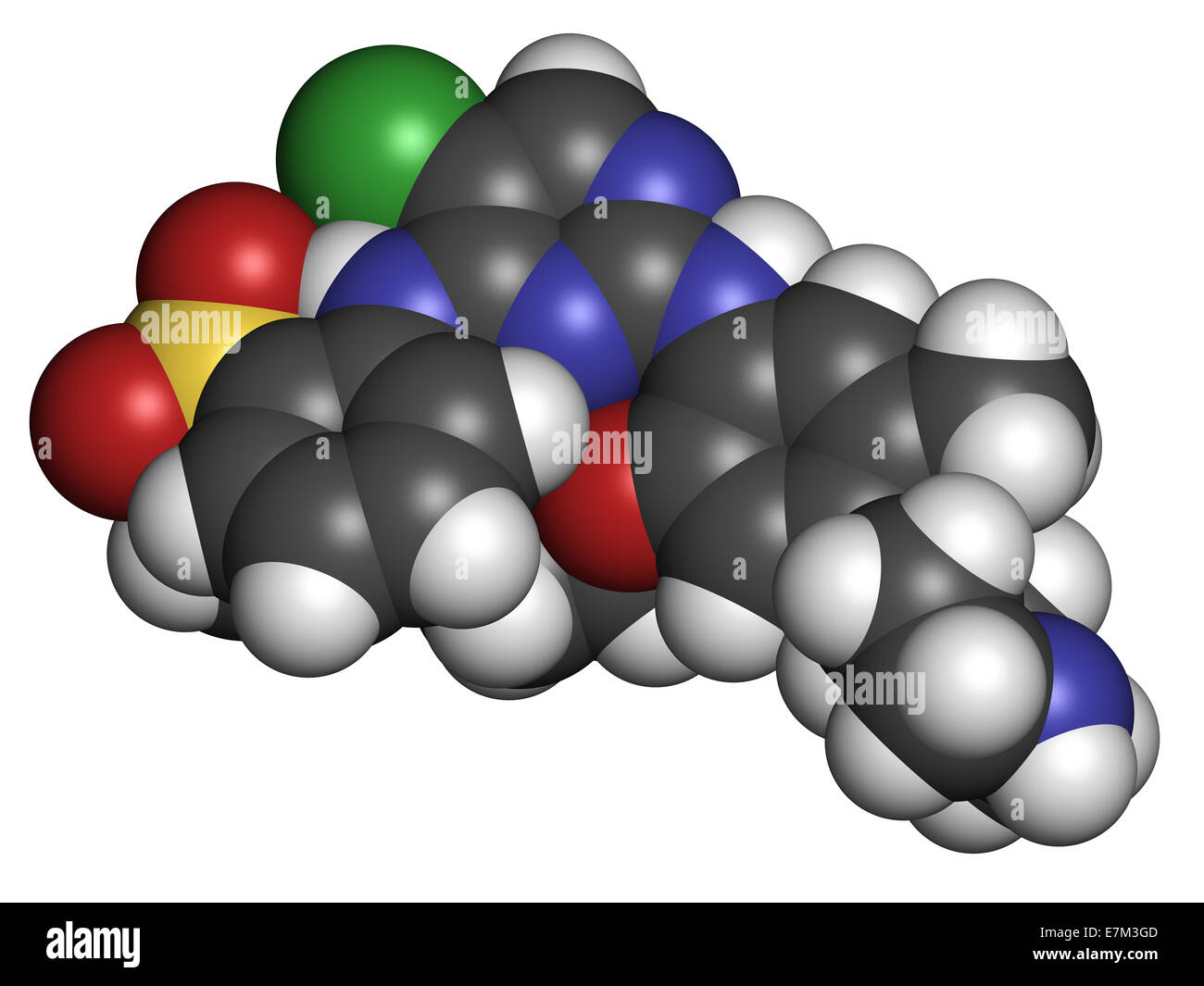 Ceritinib cancer drug molecule. ALK inhibitor used in treatment of metastatic non-small cell lung cancer. Atoms - Stock Image