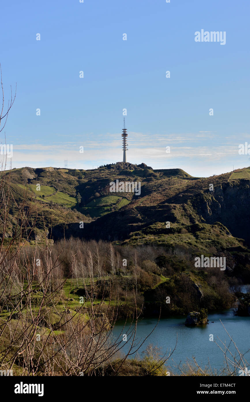 Repeater on top of the mountain, next to the old mines flooded in La Arbolera in Basque country - Stock Image