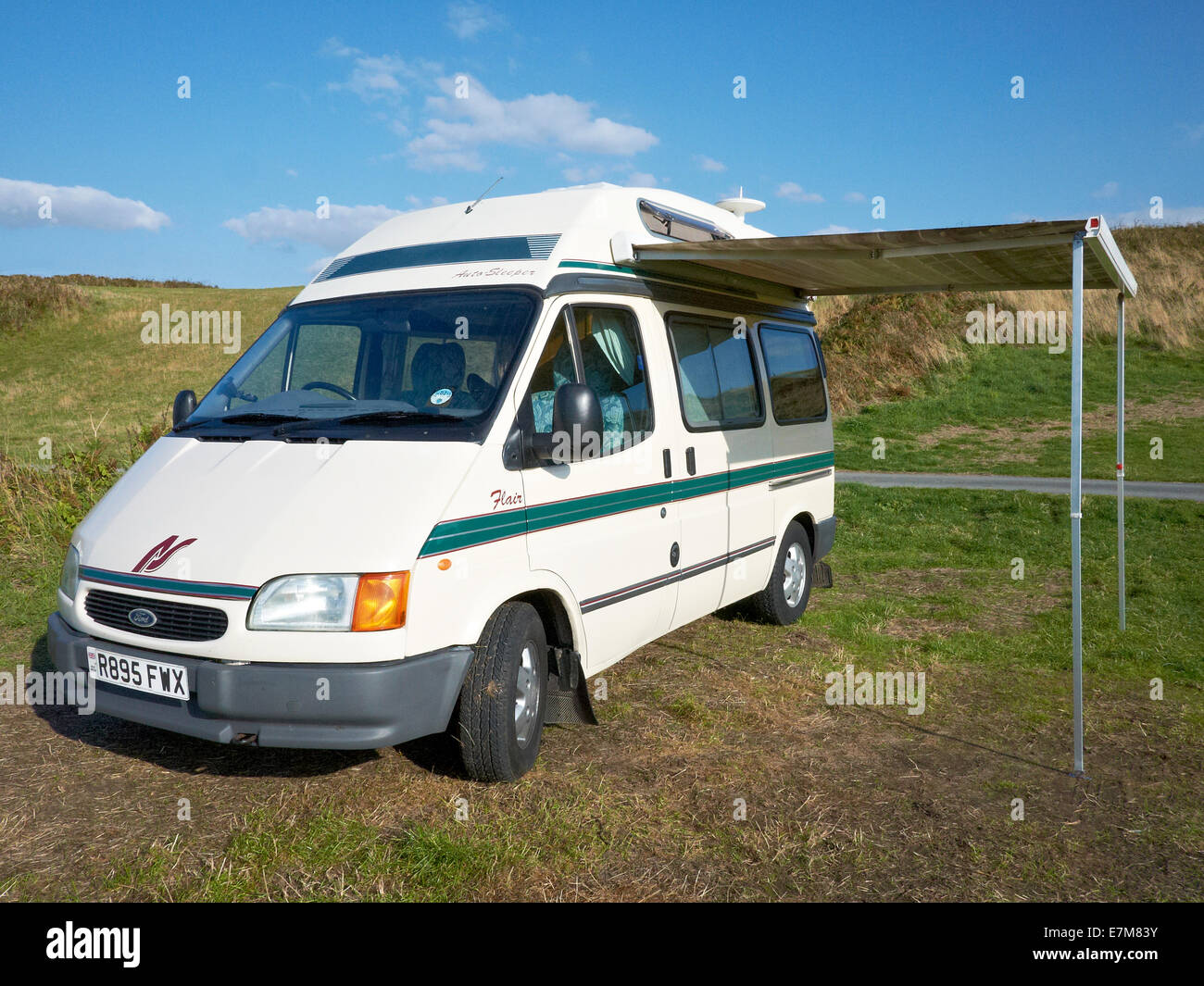 Ford Flair auto-sleeper on a campsite in Wales UK - Stock Image
