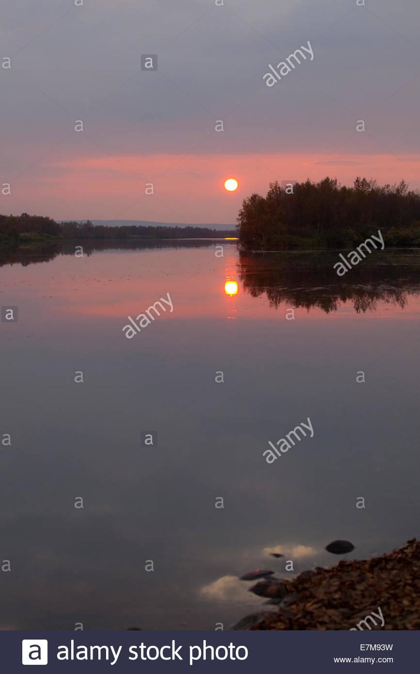 Sunset in Finnish Lapland - Stock Image