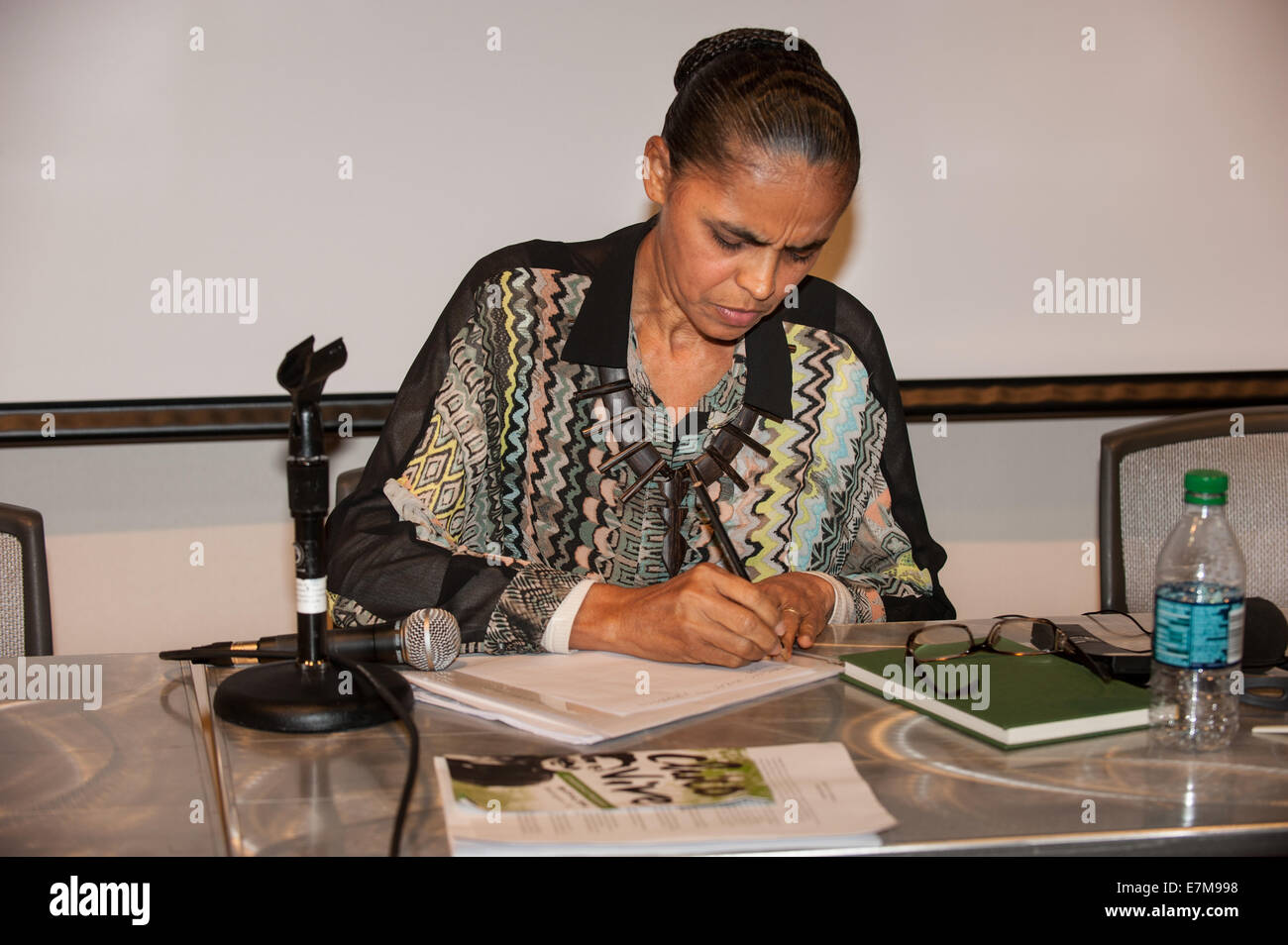 Washington DC, USA. Brazilian Presidential candidate Marina Silva, ex-Environment Minister and senator, keynote - Stock Image