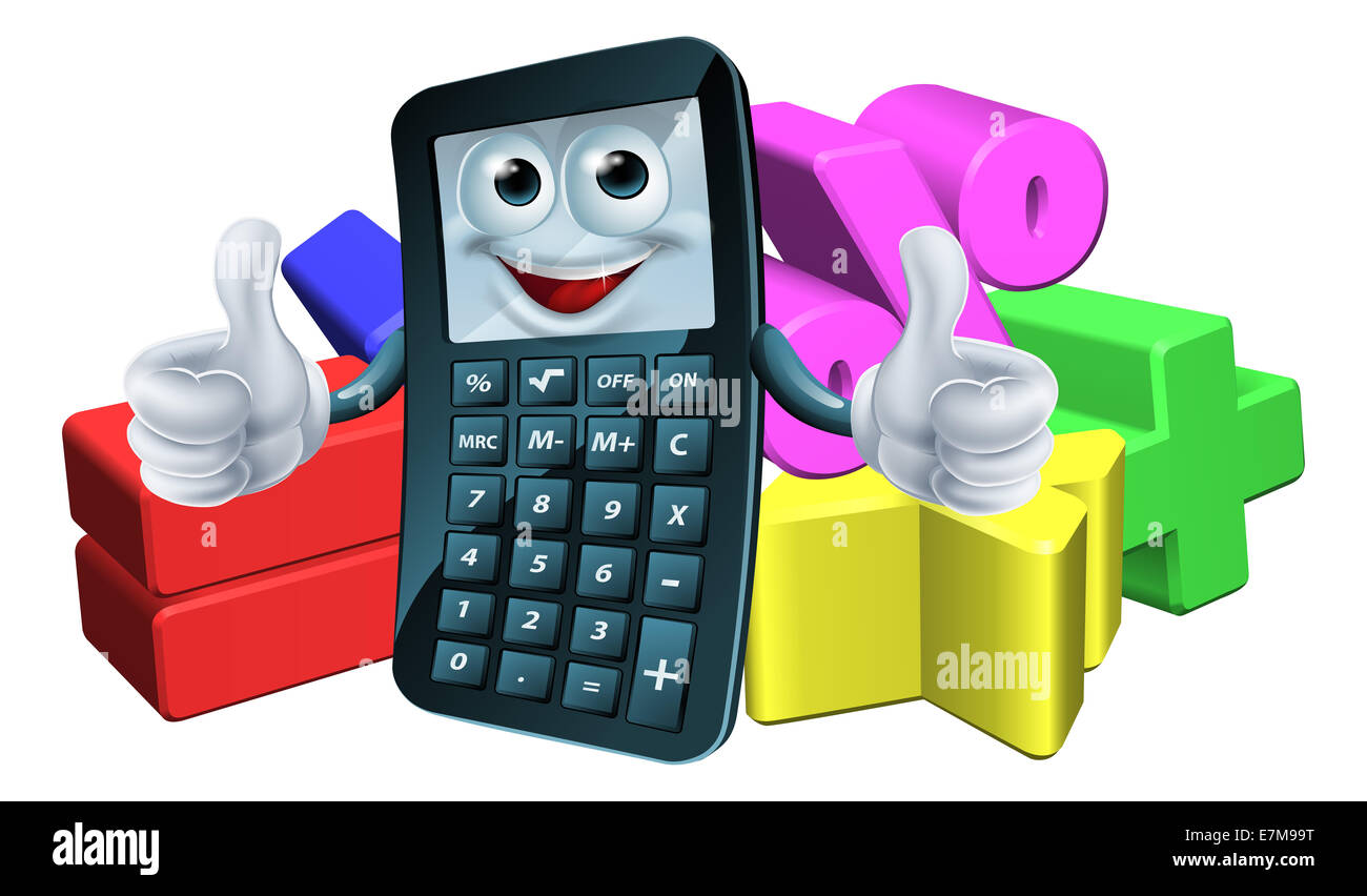 An illustration of a calculator man cartoon charter giving a thumbs ...