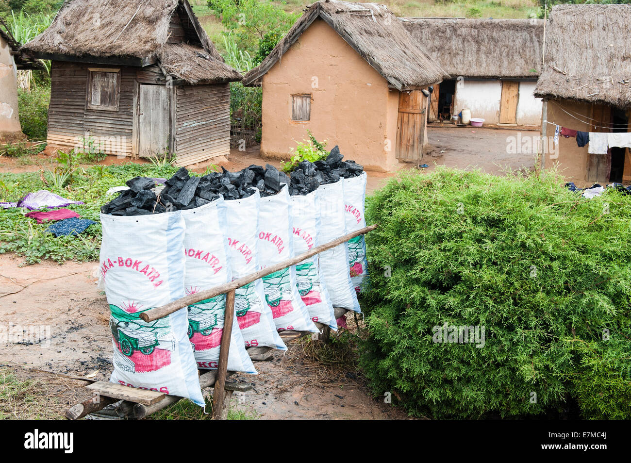 Sacks of charcoal for sale in Madagascar - Stock Image
