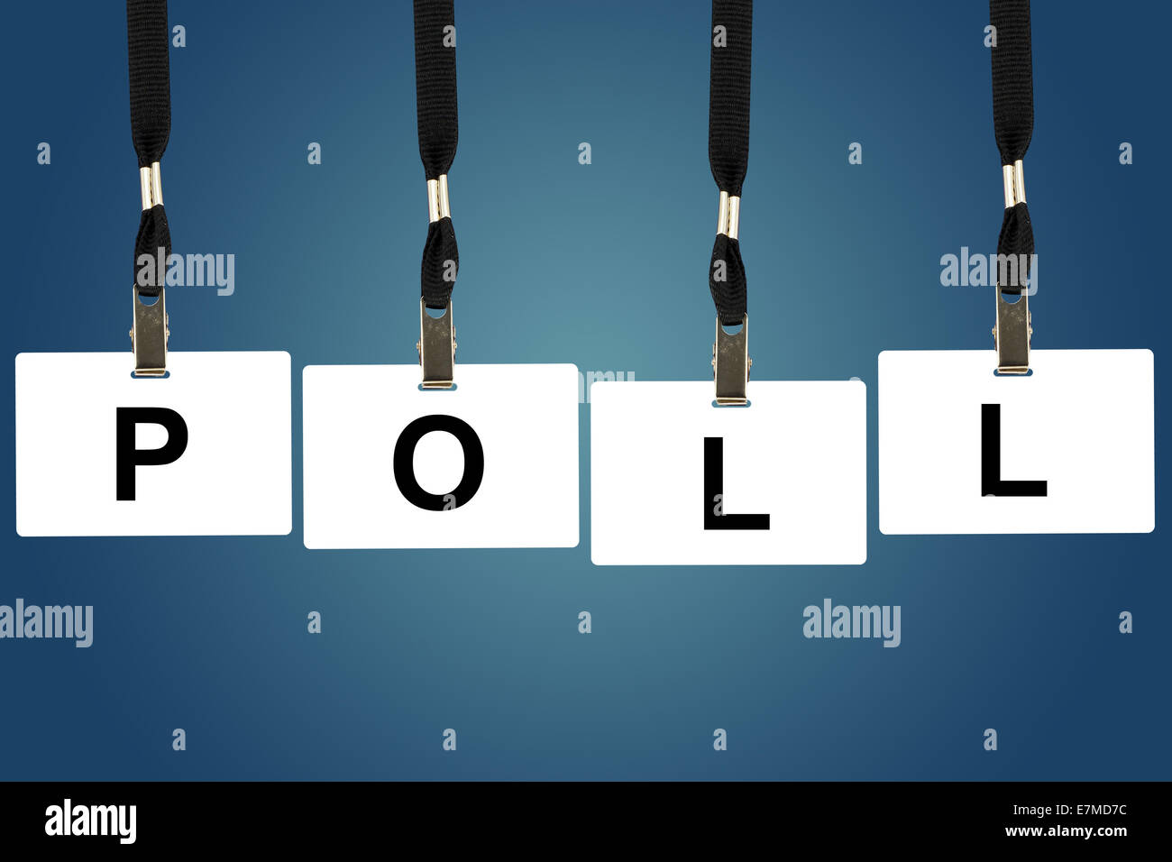 political poll word on badge with blue background - Stock Image