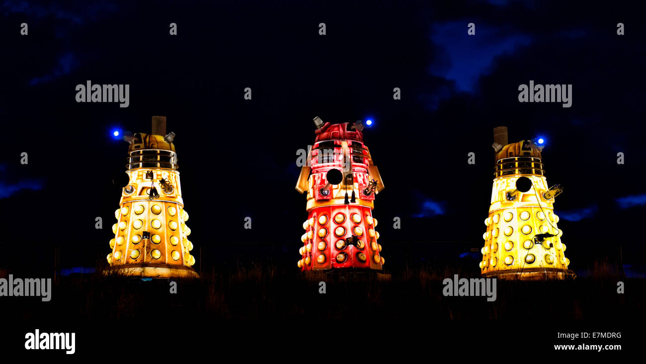 Daleks at the Blackpool Illuminations. These form part of the static display that have become a popular part of - Stock Image