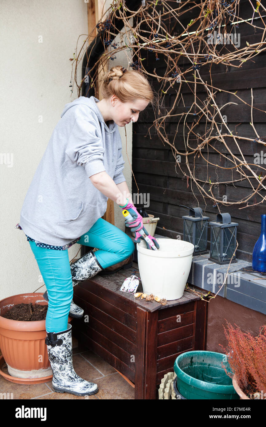 Young woman gardening on the patio - Stock Image