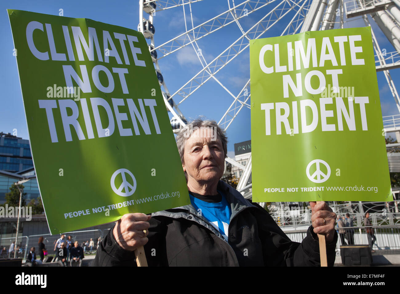 Manchester, UK  21st September, UK.  'Climate not Trident' poster held by Sheila Townsend 74, at the Frack Free Stock Photo