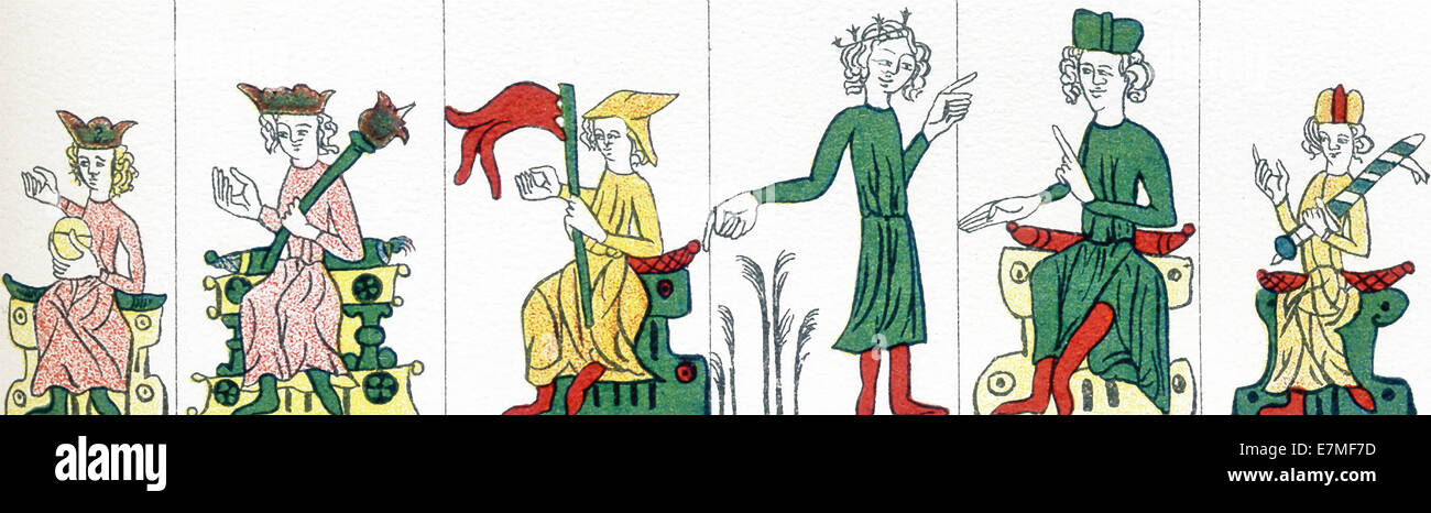 The figures (12th & 13th centuries) represent: kaiser, king, duke, feudal lord, judge of feudal law, judge of - Stock Image