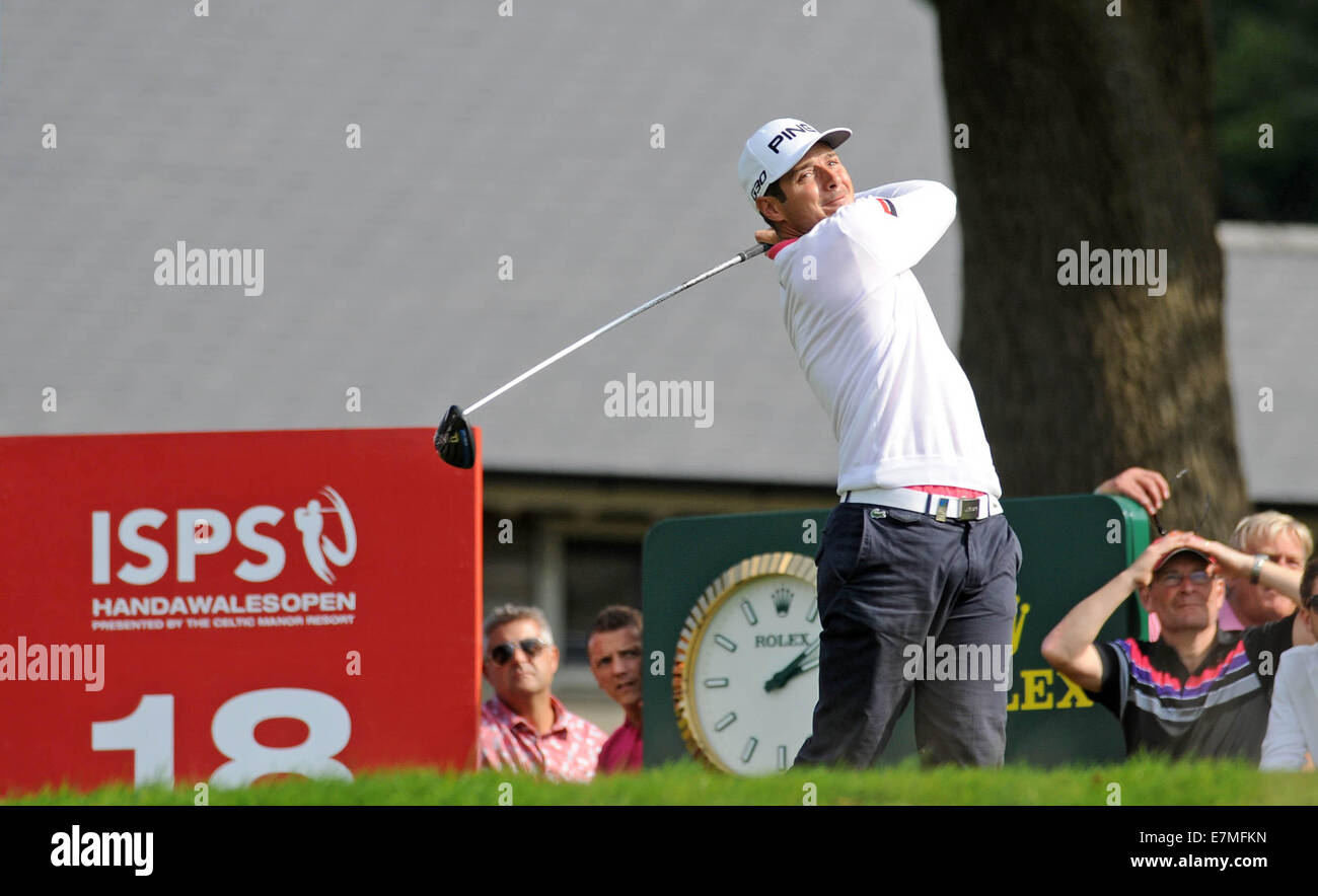 ISPS Handa Wales Open Golf final day at the Celtic Manor Resort in Newport, UK. :Julien Quesne of France tees off - Stock Image