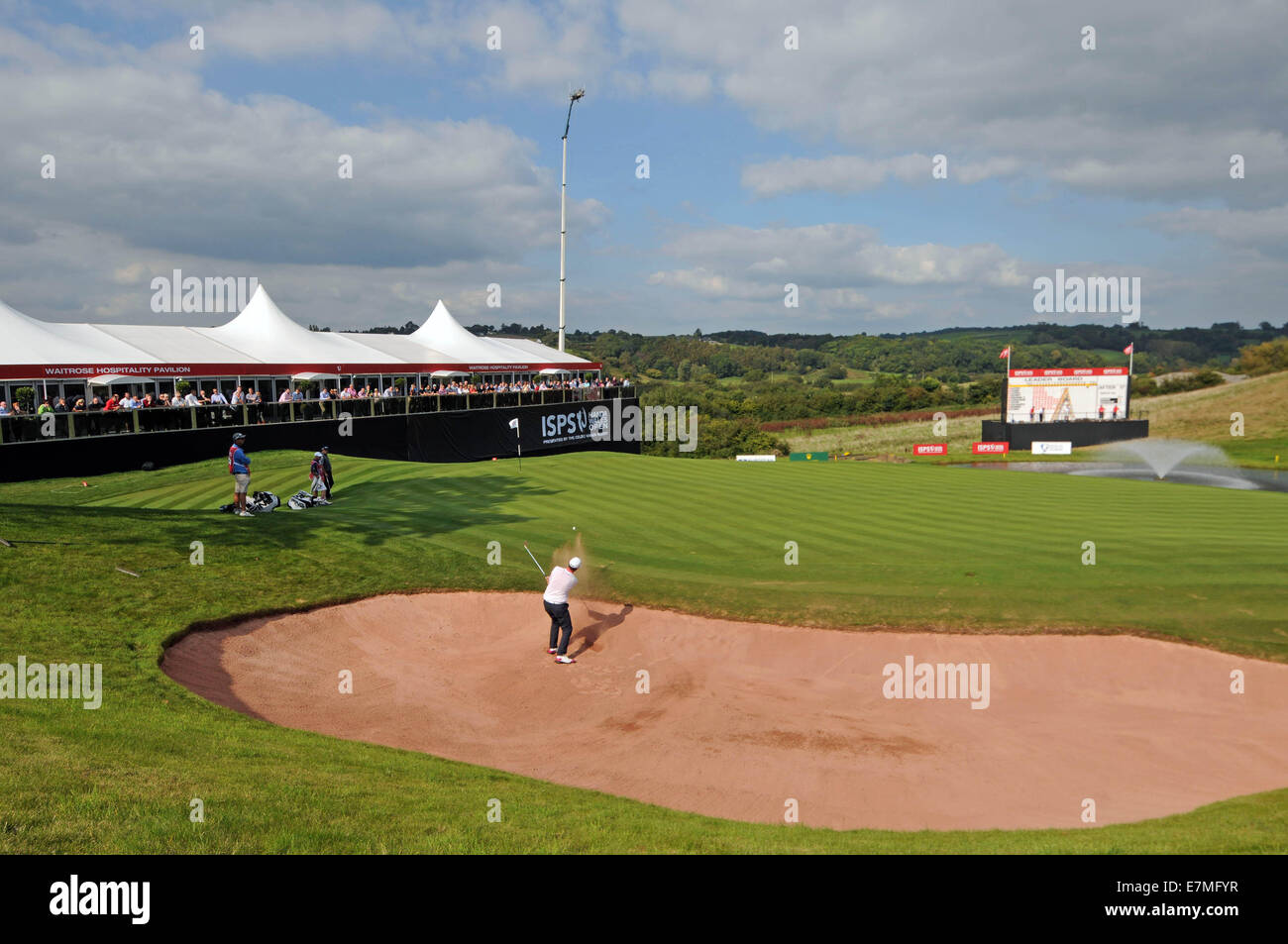 ISPS Handa Wales Open Golf final day at the Celtic Manor Resort in Newport, UK. :  Julien Quesne of France gets - Stock Image