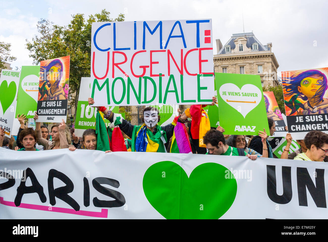 Paris, France. Crowd Holding French protest poster and Banners at  Public Demonstration, International Climate Change - Stock Image