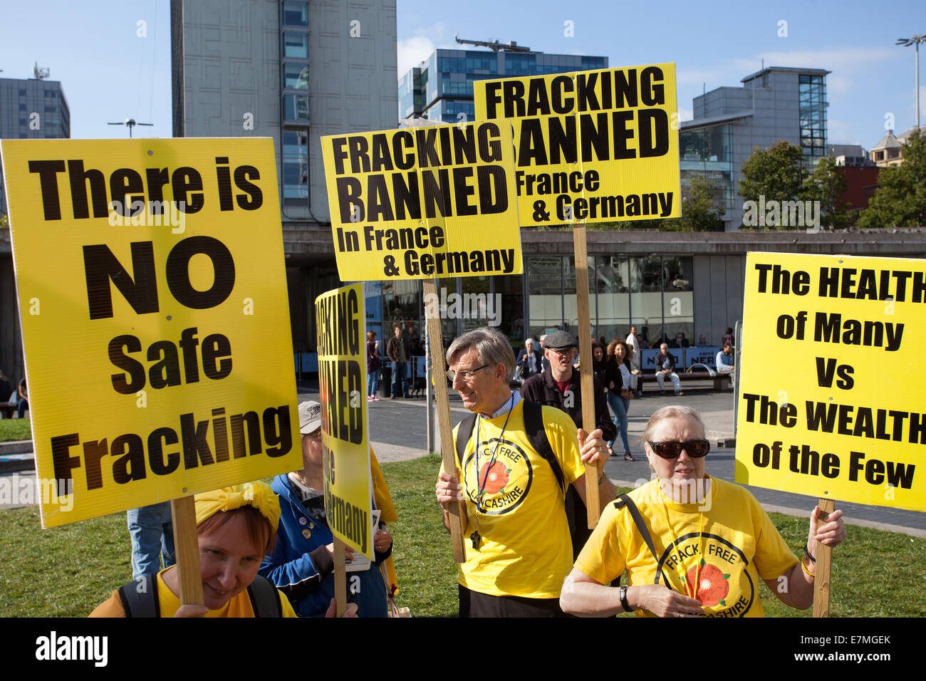 There is No Safe Fracking, protest in Manchester, UK  21st September, UK.  Frack Free Greater Manchester's People's Stock Photo