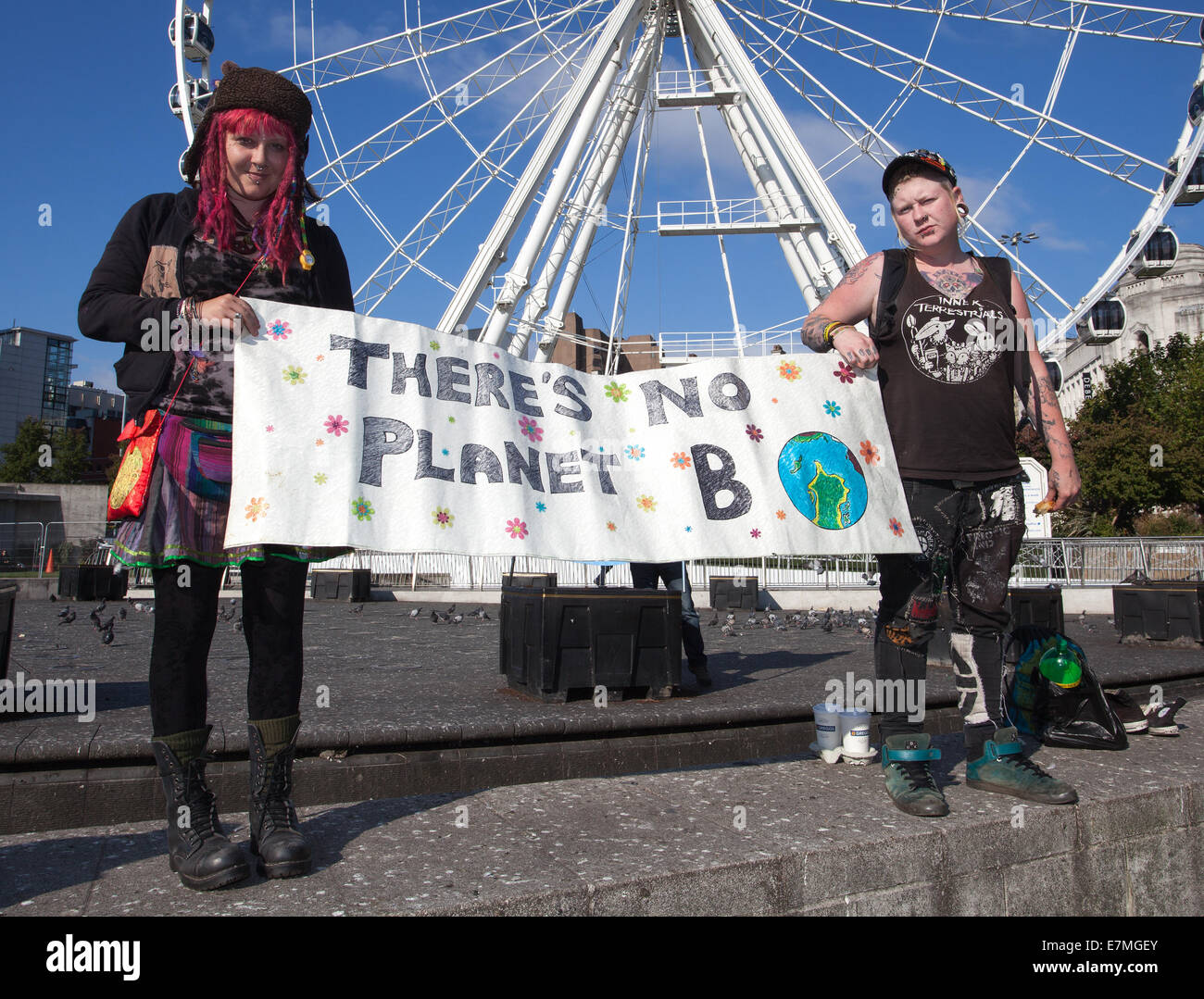 Manchester, UK  21st September, UK. There's no Planet B' sign at the Frack Free Greater Manchester's People's Climate Stock Photo