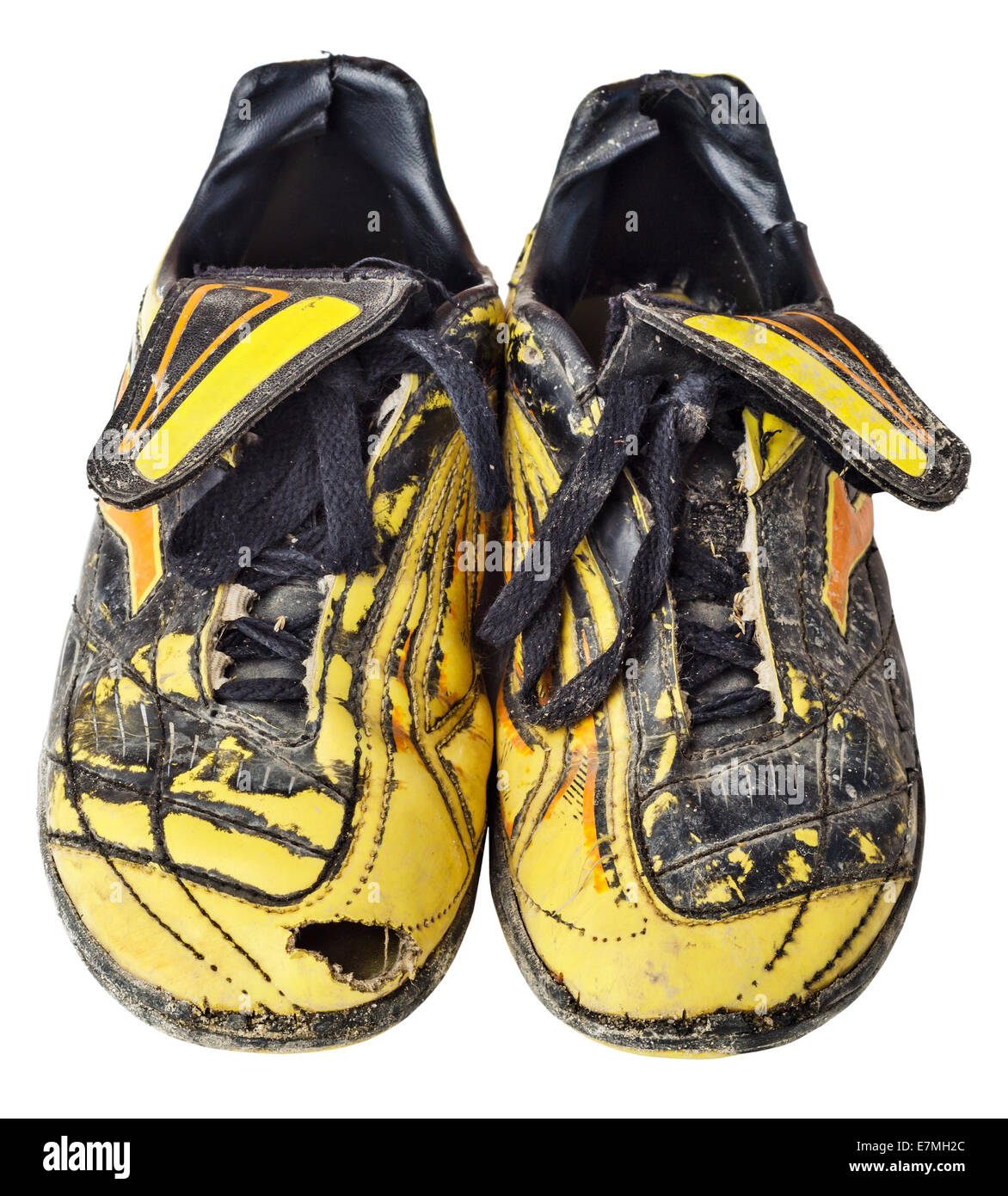 96e818b64 Pair of old football shoes. Soccer boots. Isolated on white background.  File contains a clipping path.