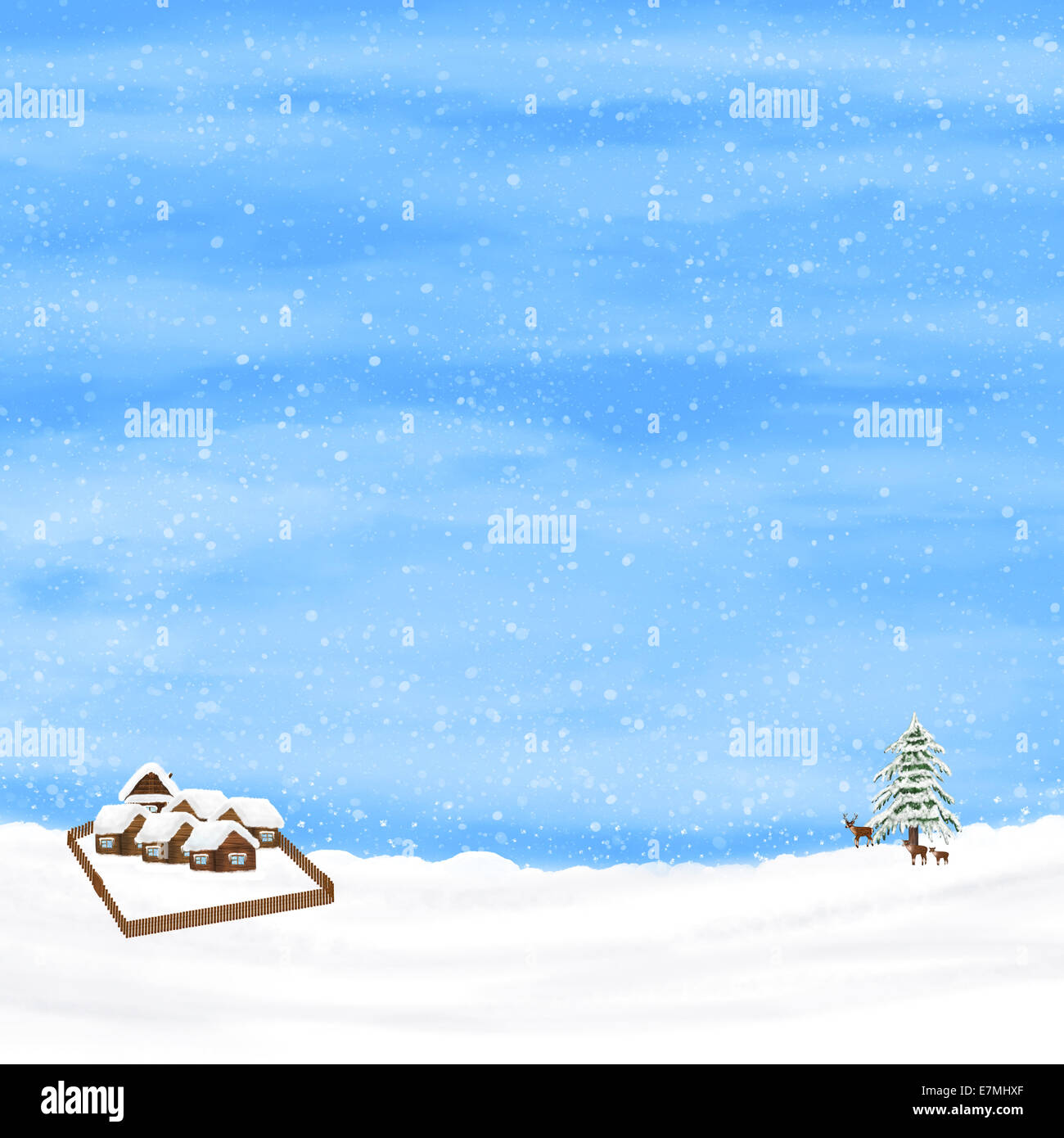 Pine tree, deers, small rustic houses on a winter blue sky background. - Stock Image