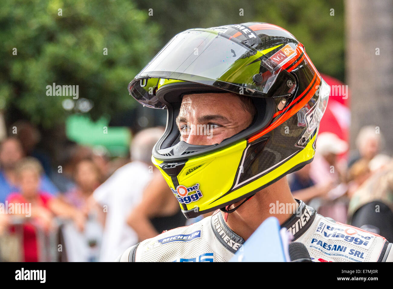 A portrait of Manuel Poggiali, former world champion of motorbike championship. Now he's racing in Italian Speed - Stock Image