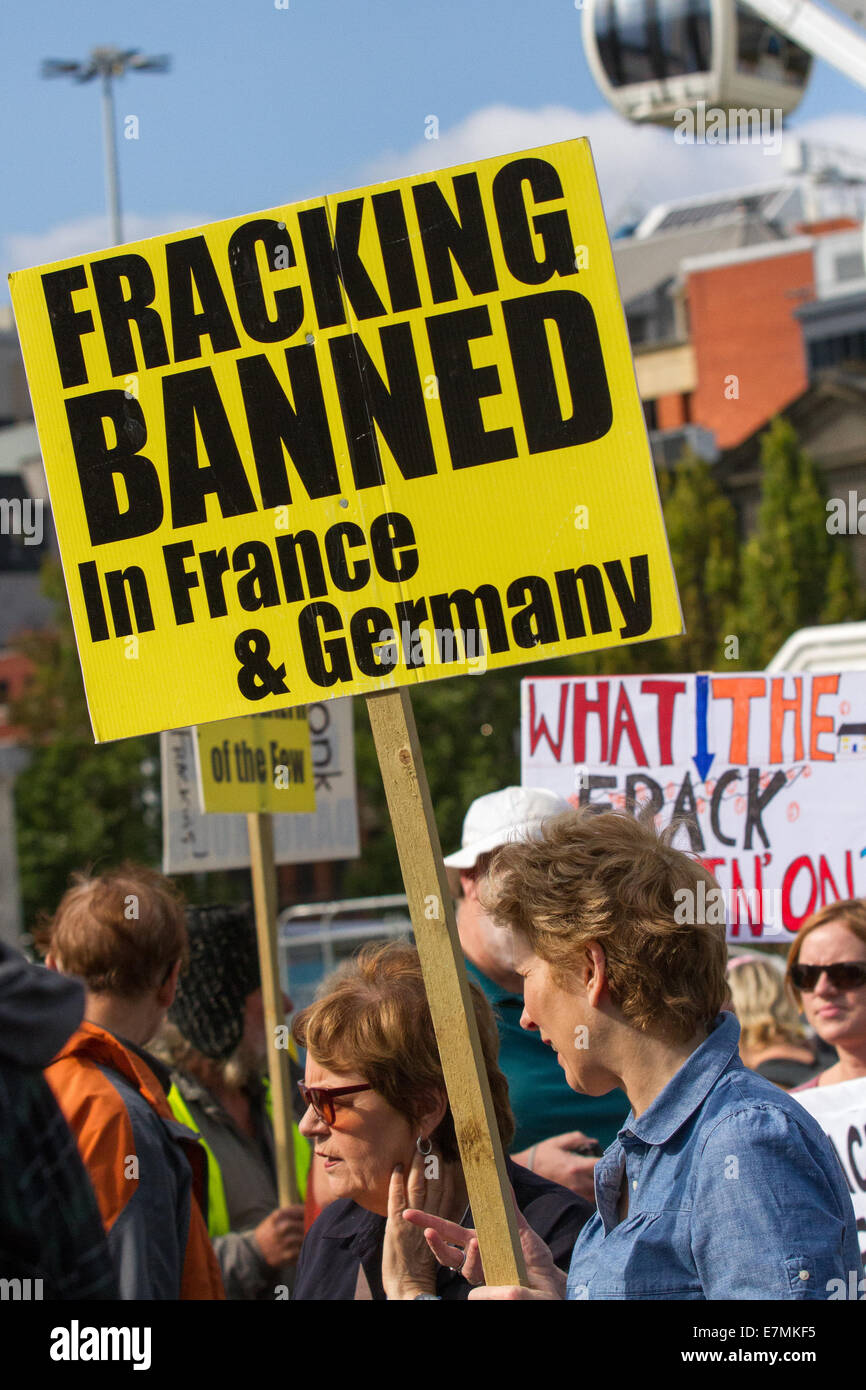 Manchester, UK  21st September, UK.  'Fracking banned in Germany' sign at the Greater Manchester's People's Climate Stock Photo