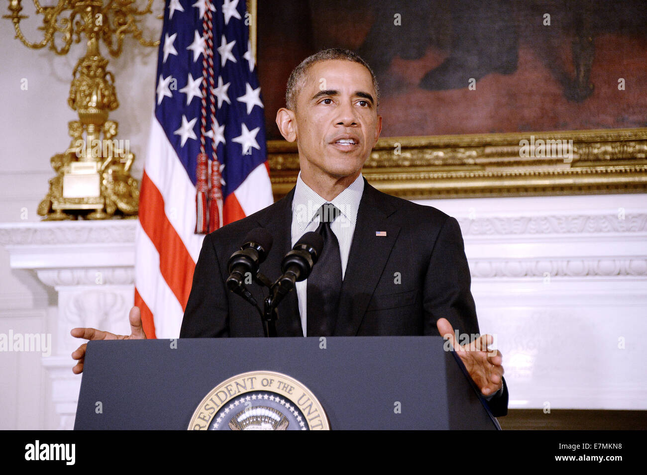 United States President Barack Obama makes a statement following U.S. Senate approval of his plan to training and - Stock Image