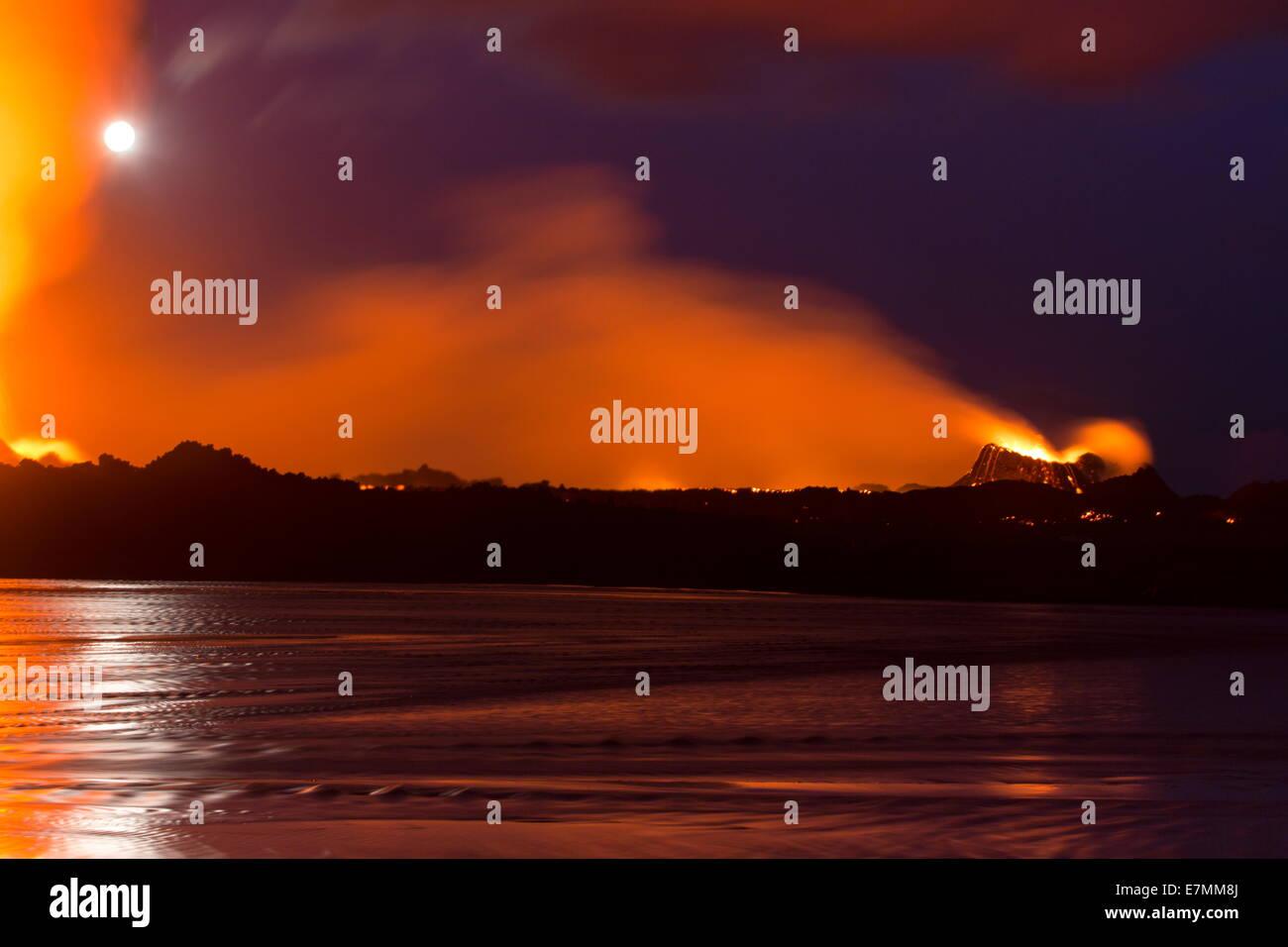 Volcano eruption in Holuhraun, highlands of Iceland - Stock Image