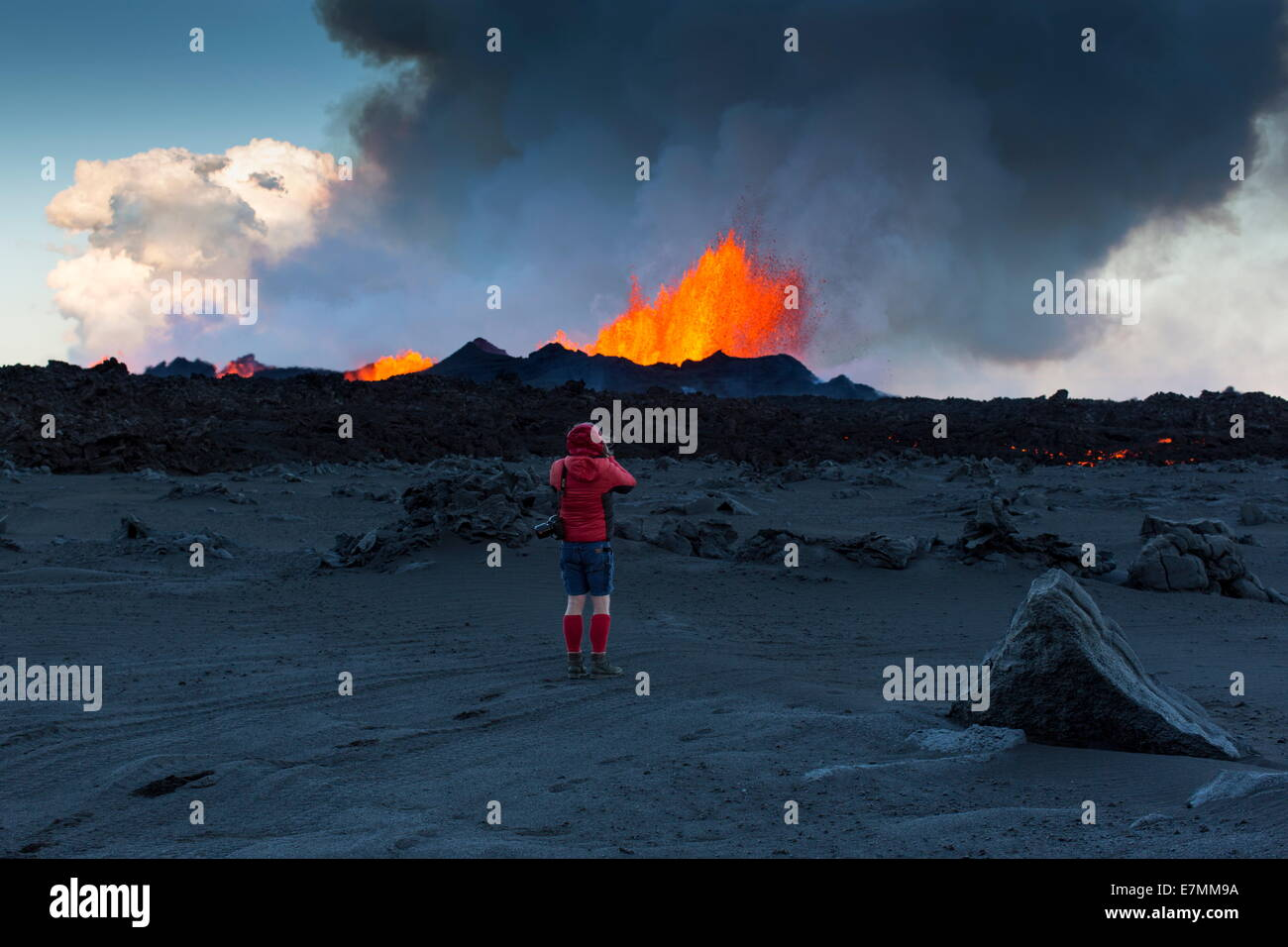 Man wearing shorts at the volcano eruption, Holuhraun, north east Iceland - - Stock Image