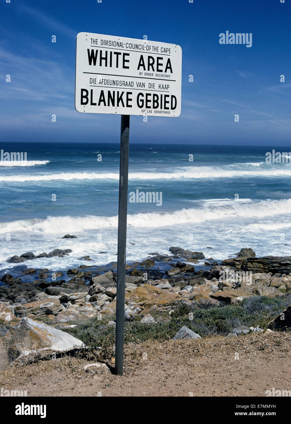 This 'White Area' sign stood along the Cape coast until anti-apartheid activist Nelson Mandela was elected - Stock Image