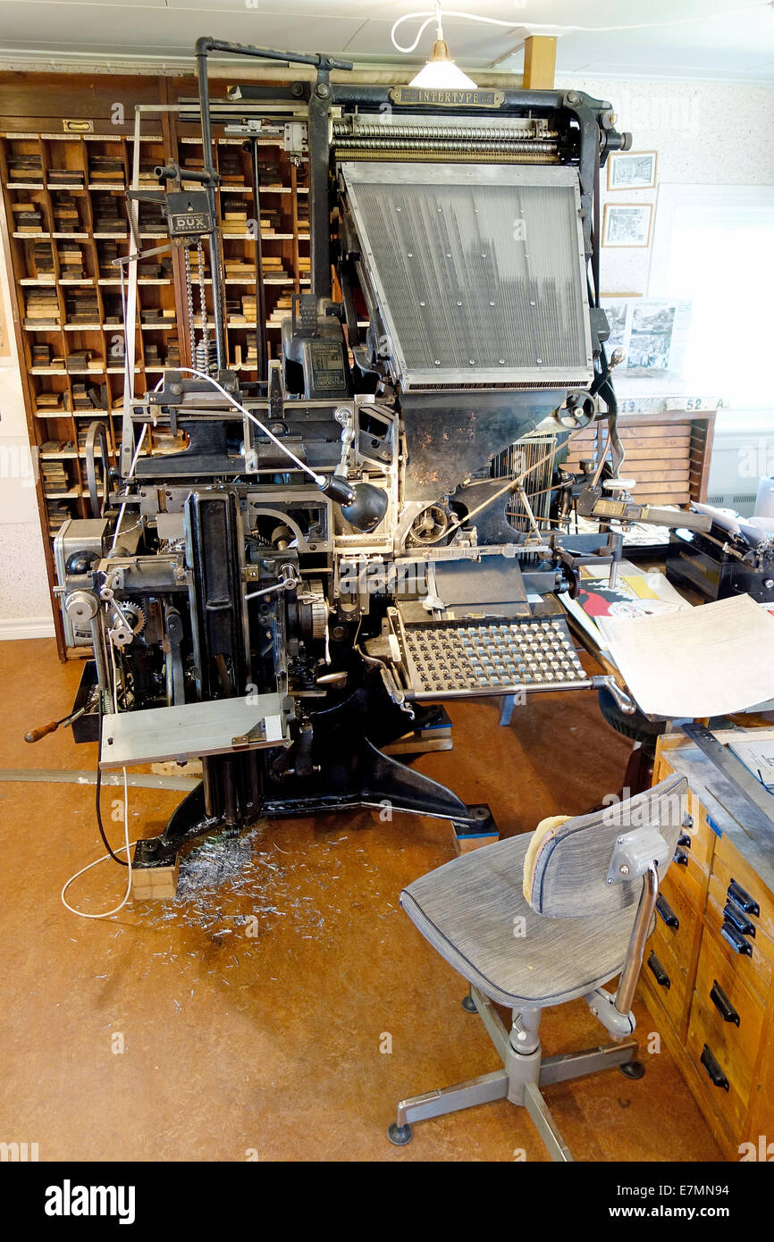 Old Typesetting Machine by Intertype Corporation, Brooklyn, N.Y.  from  1916 - Stock Image